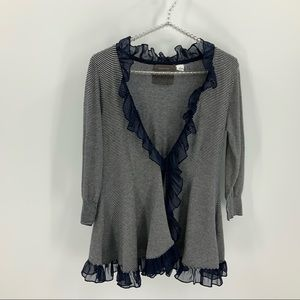 Guinevere by Anthropologie strip ruffle cardigan